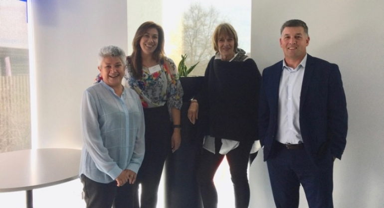 Speakers at the CINZ Update in Christchurch on 2 October - Leonie Ashford, TNZ; Loren Heaphy, ChristchurchNZ; Sue Sullivan, CINZ; and Duane Perrott, Air New Zealand