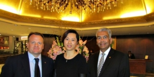 Simon Manning, vice-president sales & marketing Langham Hospitality Group; Serene Tan, regional director of public relations – Asia Pacific; Franz Mascarenhas, managing director The Langham Auckland