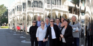 Outside Len Lye Centre is Tiffany Henderson, In-House Lawyers Association of NZ; Rob Davies, The Devon Hotel; Terri Van Schooten, Verve – the Event Agency; Lisa Chambers, Bupa Care Services; Janette Lewis, Altus NZ and Melissa Perkin, NZ Bar Association. Front row Heidi Buchmann, Soltius; Shelley Eastwood, Heritage Hotel Management and Corrina Pittwood, The Devon Hotel