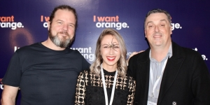 Stu Robertson and Alexina Van Nes, I Want Orange; Paul Hailes, Tourism Media Group at the brand launch