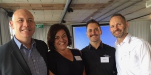 Speakers at the Flight Centre media conference in Auckland recently. David Coombes, managing director Flight Centre Travel Group NZ; Sue Matson, general manager retail; Dan Jackson, Travel Money brand leader; Nick Queale, general manager corporate