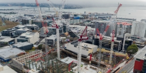 Drone shot of the NZICC construction site