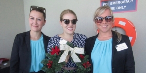 Nicole Turner, Event Partners; shows off her Christmas wreath with Megan Manson-Kullin and Kate Thornton, both Heritage Auckland