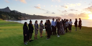 Traditional Maori welcome in front of the Copthorne Hotel & Resort Hokianga