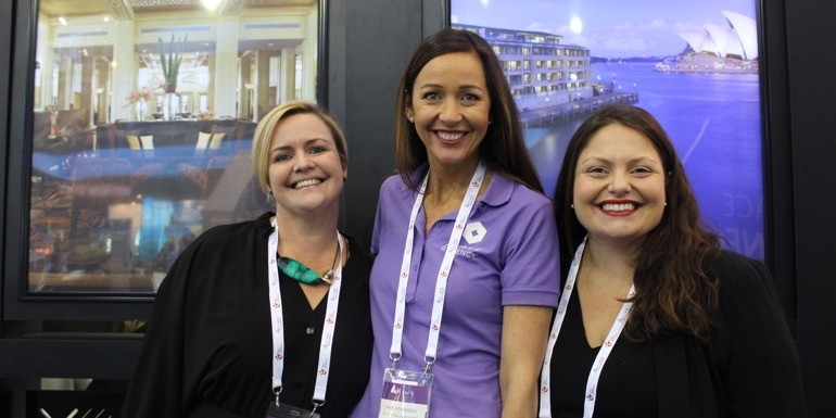 Catching up with all things Hyatt at AIME are Leann Cole, MCI Australia with Hyatt Hotels' Kate Atkinson and Maggie Diasinos