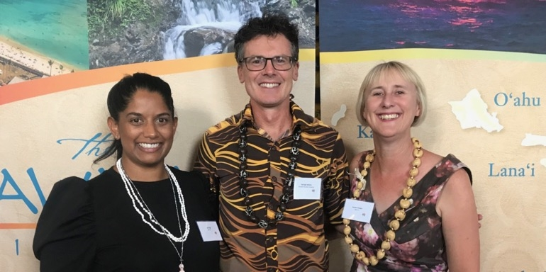 Jess Ogg, GO C&I (left) won a Hawaii land package at last week's event and is seen here with GO C&I colleague Janeen Hodges and Darragh Walshe, Hawaii Tourism Authority