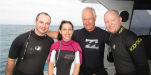We're off for a whale swim… Daniel Eastwood, Infinity South Pacific; Camille Descours, ATS South Pacific/ AOT New Zealand; Steve Shearer, Scenic Hotels; Mark Green, Dive Adventures (Sydney).