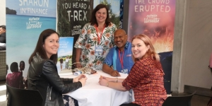 Talking Vanuatu at the Meet the Pacific event are Lisa Callander and Samantha Beeston, stageandscreen travel services (left and right) and Jacquie Carson, Vanuatu Tourism and Jonas George, Air Vanuatu (centre).