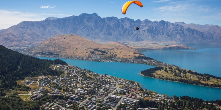 Paragliding from Bob's Peek, photo courtesy of QueenstownNZ