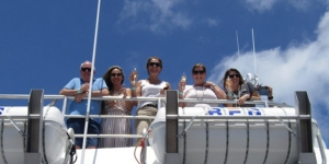 Arriving at Malamala Beach Club on Tiger V… Wayne Deed, South Sea Cruises; Rachel Mancini, House of Travel; Karen McMahon, helloworld; Marg Spiro, First Travel Group; Sarah Bedford, STA