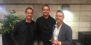 Dave Sutherland, founder Whoa! Studios; Riley Callander, chef and Ben Bayly co-owner of The Grounds at Whoa! Studios