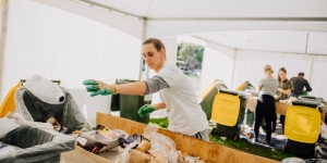 Volunteers at Fieldays 2019 helping to sort waste